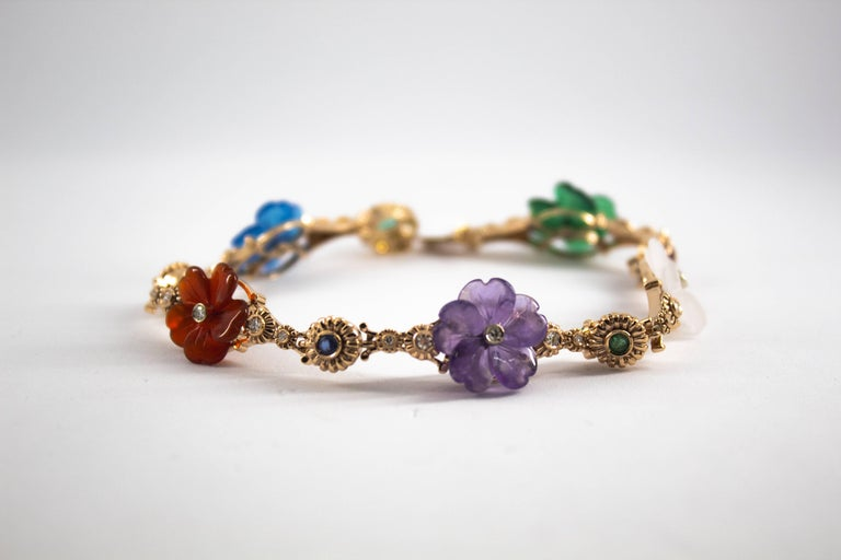 Art Nouveau Diamond Ruby Sapphire Emerald Amethyst Yellow Gold Flowers Bracelet For Sale 1