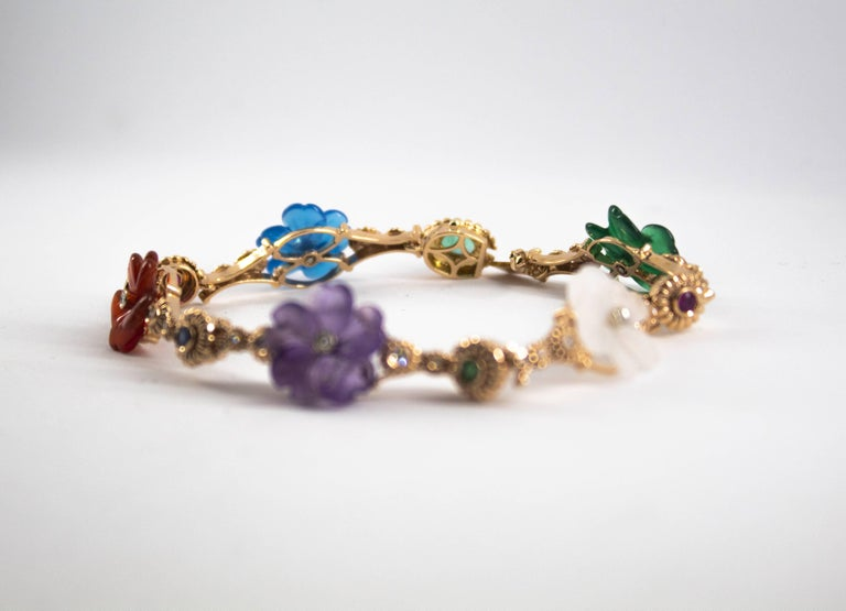 Art Nouveau Diamond Ruby Sapphire Emerald Amethyst Yellow Gold Flowers Bracelet For Sale 2