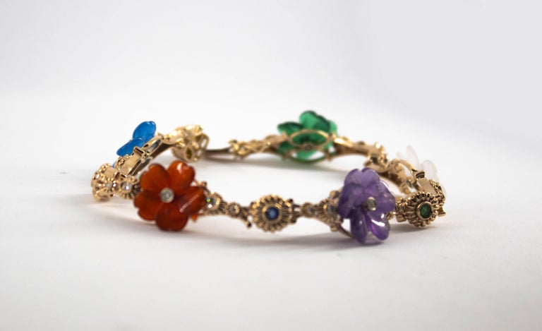 Art Nouveau Diamond Ruby Sapphire Emerald Amethyst Yellow Gold Flowers Bracelet For Sale 3