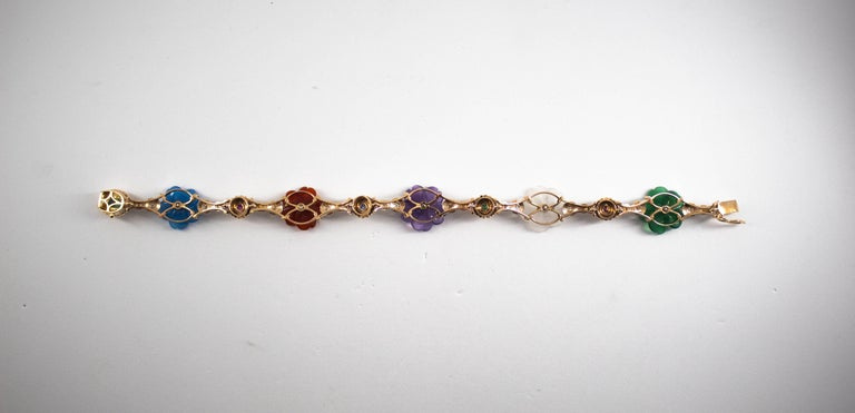 Art Nouveau Diamond Ruby Sapphire Emerald Amethyst Yellow Gold Flowers Bracelet For Sale 4