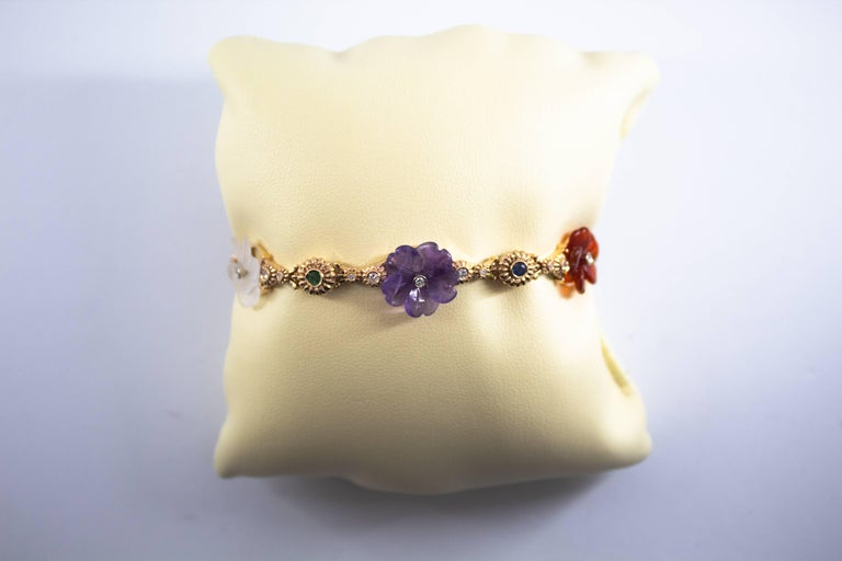 Art Nouveau Diamond Ruby Sapphire Emerald Amethyst Yellow Gold Flowers Bracelet For Sale 5