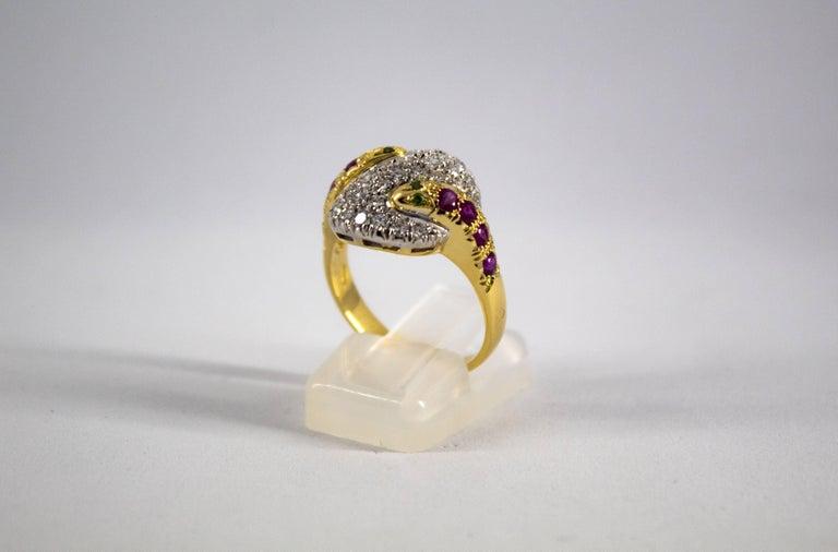 Renaissance 0.44 Carat Ruby Tsavorite 0.90 Carat Diamond Yellow Gold