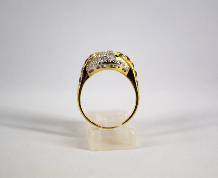 Women's or Men's 0.44 Carat Ruby Tsavorite 0.90 Carat Diamond Yellow Gold