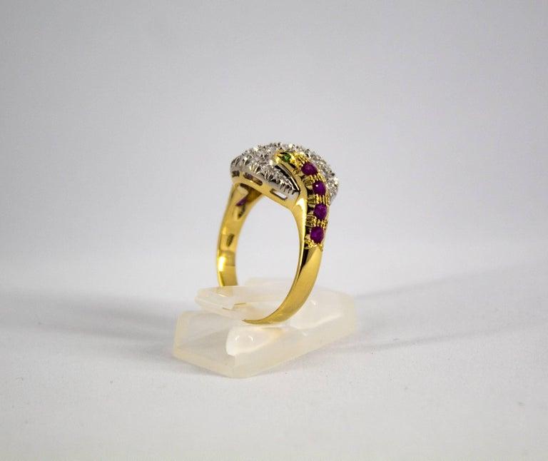 0.44 Carat Ruby Tsavorite 0.90 Carat Diamond Yellow Gold