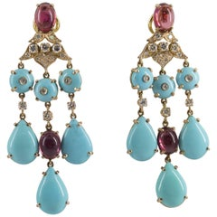 Turquoise 8.80 Carat Tourmaline 1.50 Carat Diamond Yellow Gold Clip-On Earrings