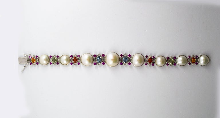 Renaissance Pearl 10.0 Carat Ruby Yellow Blue Green Sapphire Diamond White Gold Bracelet For Sale