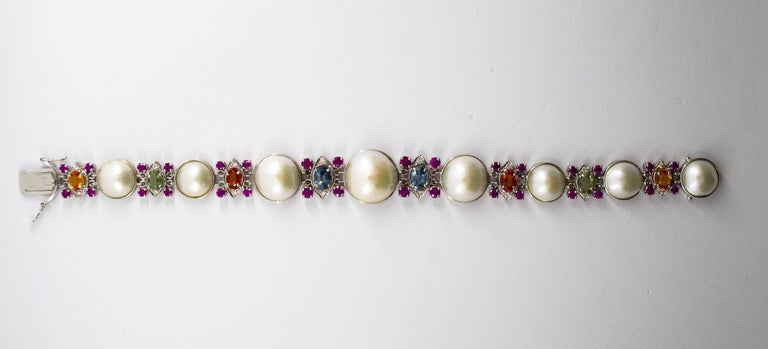 Pearl 10.0 Carat Ruby Yellow Blue Green Sapphire Diamond White Gold Bracelet In New Condition For Sale In Naples, IT