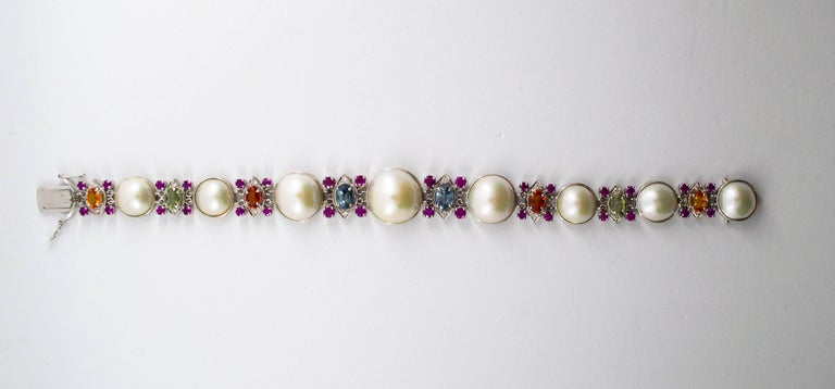 Women's or Men's Pearl 10.0 Carat Ruby Yellow Blue Green Sapphire Diamond White Gold Bracelet For Sale