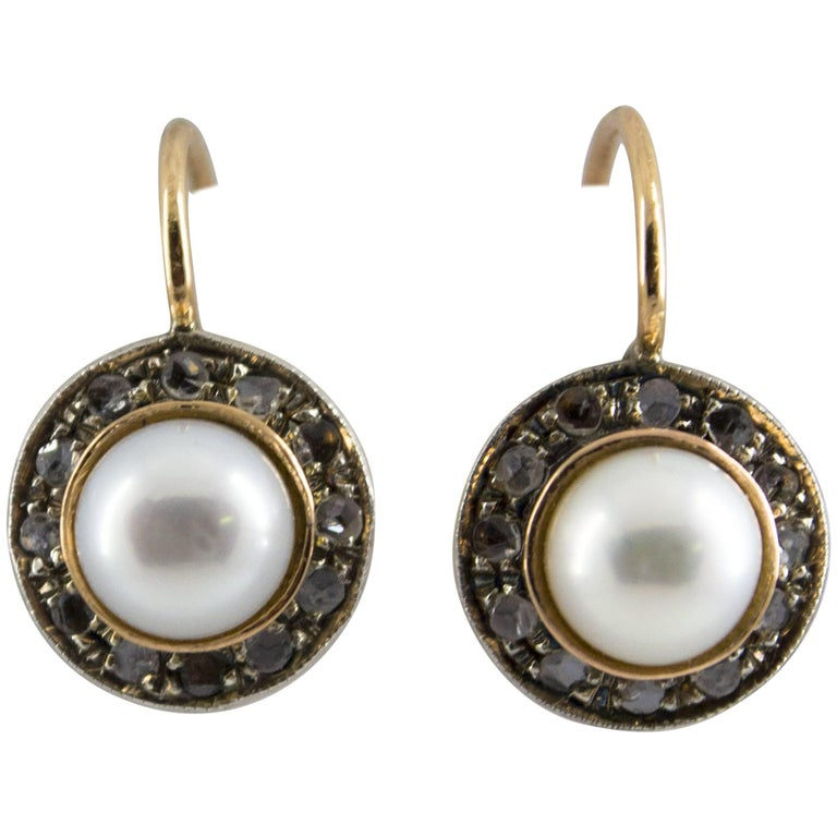 Pearl 0.20 Carat Diamond Yellow Gold Lever-Back Earrings