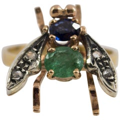 "1.50 Carat Sapphire Emerald Diamond Yellow Gold Cocktail ""Fly"" Ring"