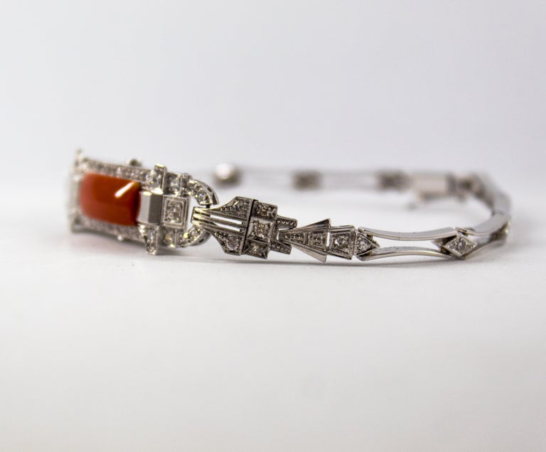 Renaissance Mediterranean Red Coral 1.03 Carat White Diamond Platinum White Gold Bracelet For Sale