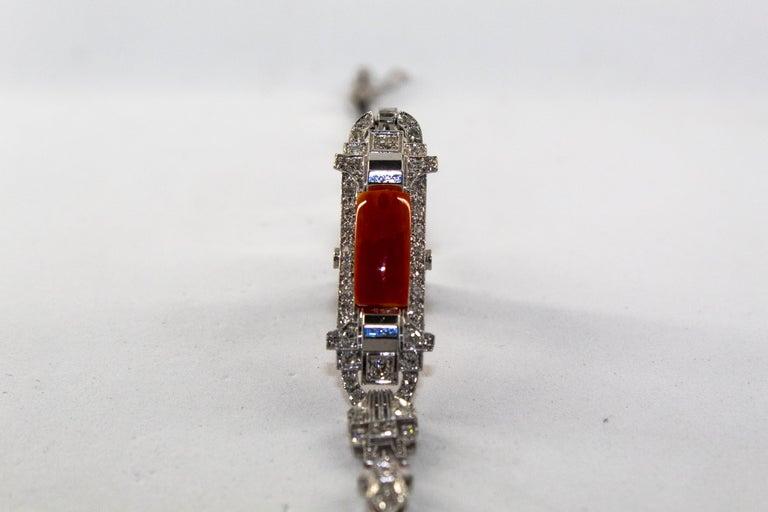 Mediterranean Red Coral 1.03 Carat White Diamond Platinum White Gold Bracelet For Sale 5
