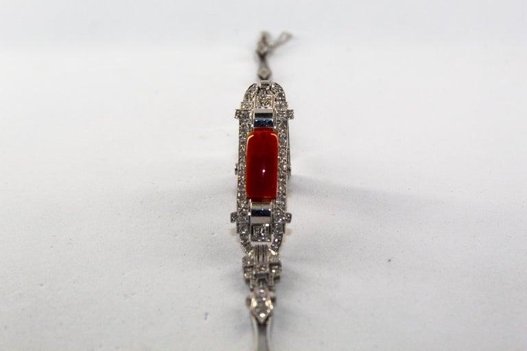 Mediterranean Red Coral 1.03 Carat White Diamond Platinum White Gold Bracelet For Sale 6