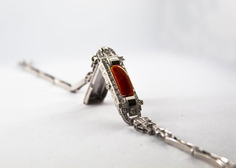 Mediterranean Red Coral 1.03 Carat White Diamond Platinum White Gold Bracelet For Sale 7