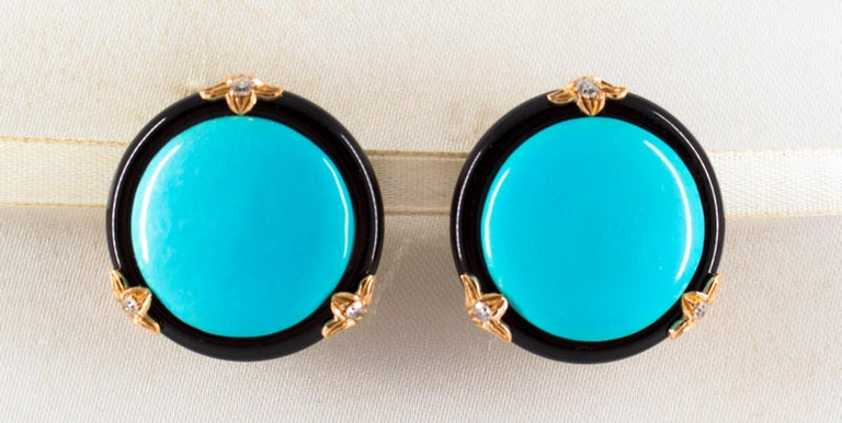These Earrings are made of 14K Yellow Gold. These Earrings have 0.20 Carats of White Diamonds. These Earrings have Turquoise and Onyx. We're a workshop so every piece is handmade, customizable and resizable.