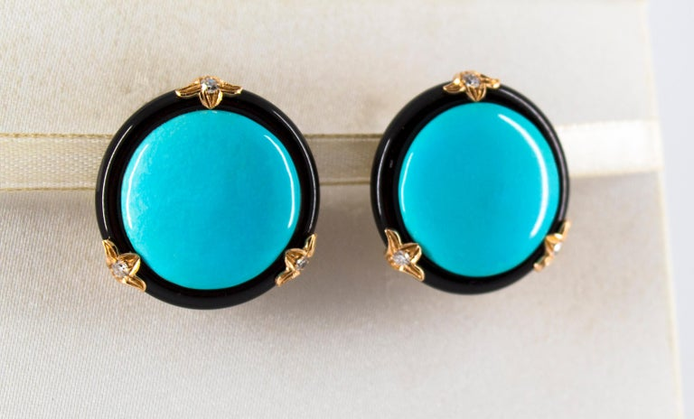 Renaissance Turquoise Onyx 0.20 Carat White Diamond Yellow Gold Clip-On Earrings In New Condition For Sale In Naples, IT