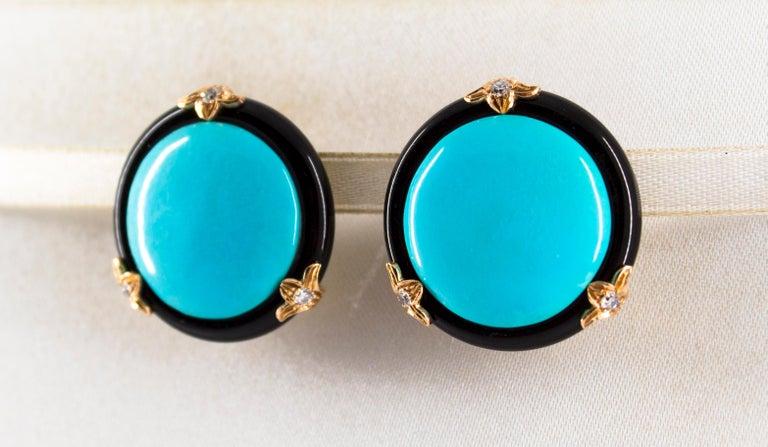 Women's or Men's Renaissance Turquoise Onyx 0.20 Carat White Diamond Yellow Gold Clip-On Earrings For Sale