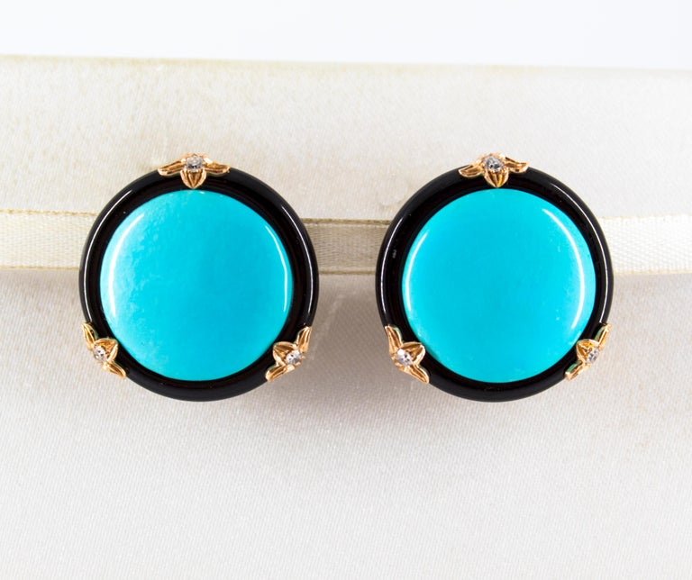 Renaissance Turquoise Onyx 0.20 Carat White Diamond Yellow Gold Clip-On Earrings For Sale 1