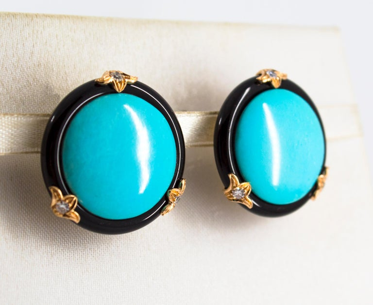 Renaissance Turquoise Onyx 0.20 Carat White Diamond Yellow Gold Clip-On Earrings For Sale 2