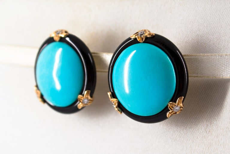 Renaissance Turquoise Onyx 0.20 Carat White Diamond Yellow Gold Clip-On Earrings For Sale 3