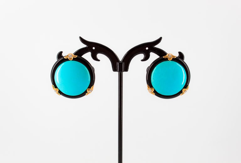 Renaissance Turquoise Onyx 0.20 Carat White Diamond Yellow Gold Clip-On Earrings For Sale 4