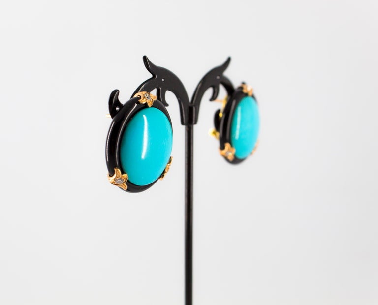 Renaissance Turquoise Onyx 0.20 Carat White Diamond Yellow Gold Clip-On Earrings For Sale 5