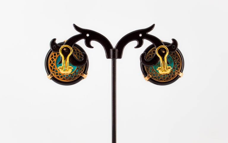 Renaissance Turquoise Onyx 0.20 Carat White Diamond Yellow Gold Clip-On Earrings For Sale 6