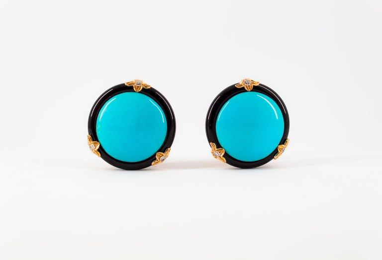 Renaissance Turquoise Onyx 0.20 Carat White Diamond Yellow Gold Clip-On Earrings For Sale 8