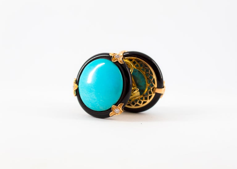 Renaissance Turquoise Onyx 0.20 Carat White Diamond Yellow Gold Clip-On Earrings For Sale 9