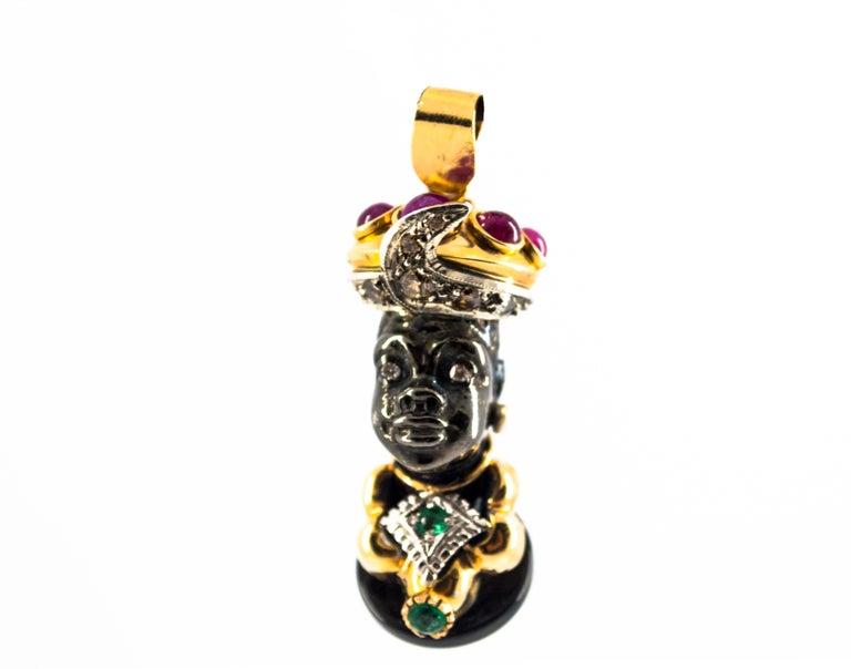 Renaissance 3.60 Carat Ruby Emerald White Diamond Onyx Yellow Gold