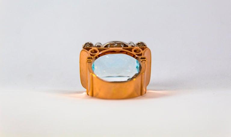 15.20 Carat Aquamarine 0.87 Carat White Diamond Yellow Gold Cocktail Ring For Sale 10