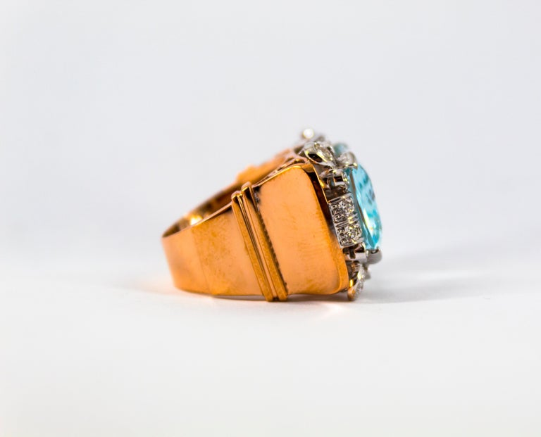 15.20 Carat Aquamarine 0.87 Carat White Diamond Yellow Gold Cocktail Ring For Sale 12