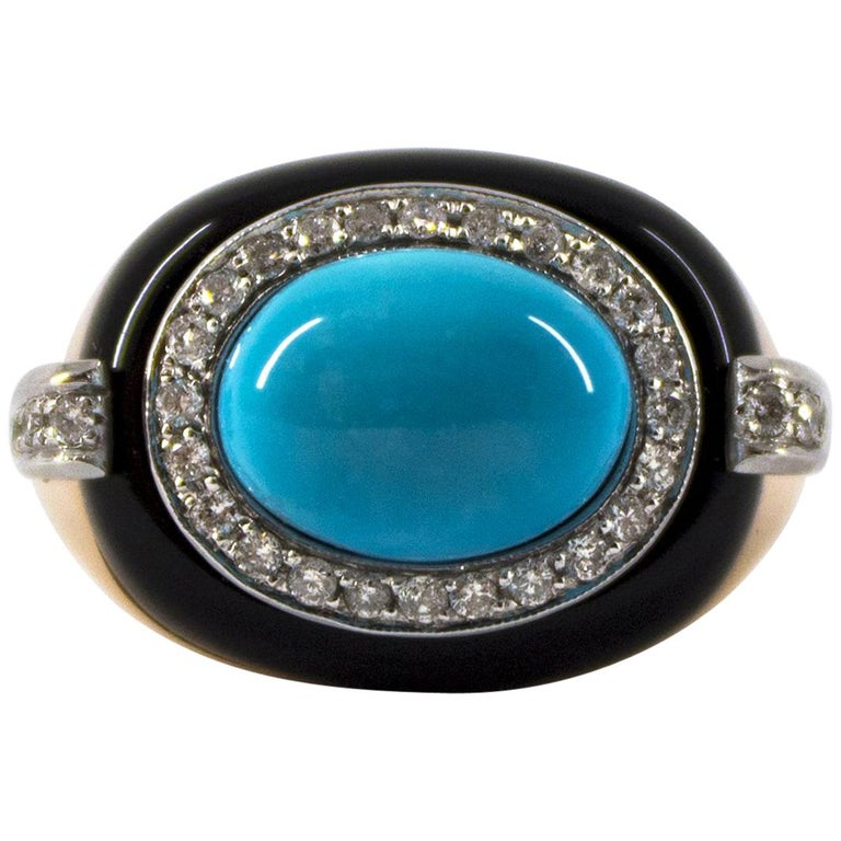 Renaissance 0.40 Carat White Diamond Turquoise Onyx Yellow Gold Cocktail Ring