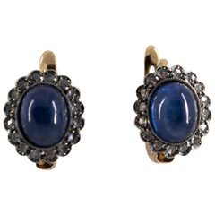 7.10 Carat Blue Sapphire 0.30 Carat Diamond Yellow Gold Lever-Back Earrings