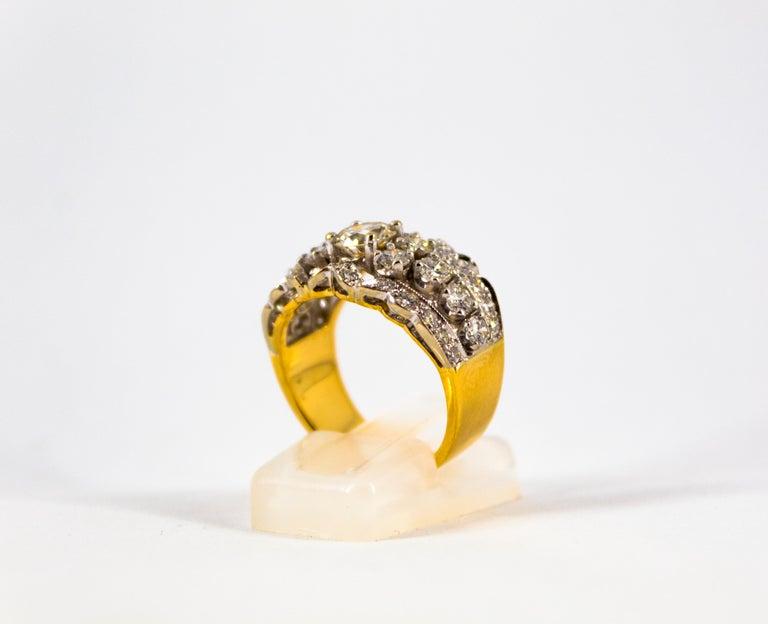 Women's or Men's Renaissance Style 2.00 Carat White Diamond Yellow Gold Band Ring For Sale
