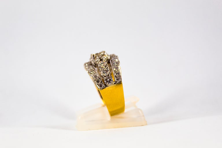 Renaissance Style 2.00 Carat White Diamond Yellow Gold Band Ring For Sale 1