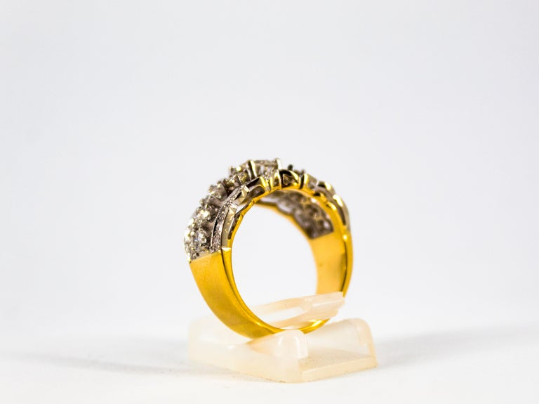 Renaissance Style 2.00 Carat White Diamond Yellow Gold Band Ring For Sale 2
