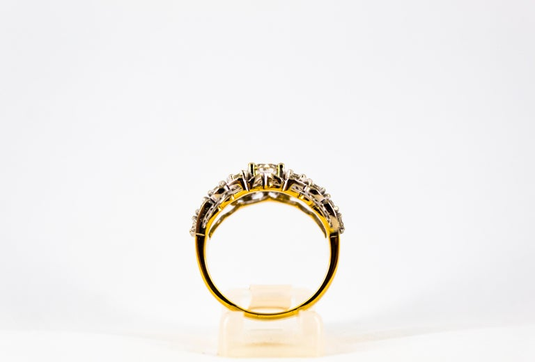 Renaissance Style 2.00 Carat White Diamond Yellow Gold Band Ring For Sale 3