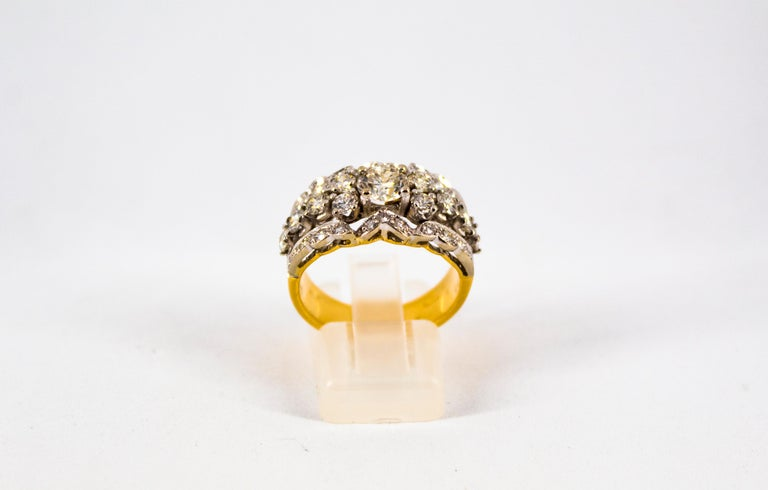 Renaissance Style 2.00 Carat White Diamond Yellow Gold Band Ring For Sale 5
