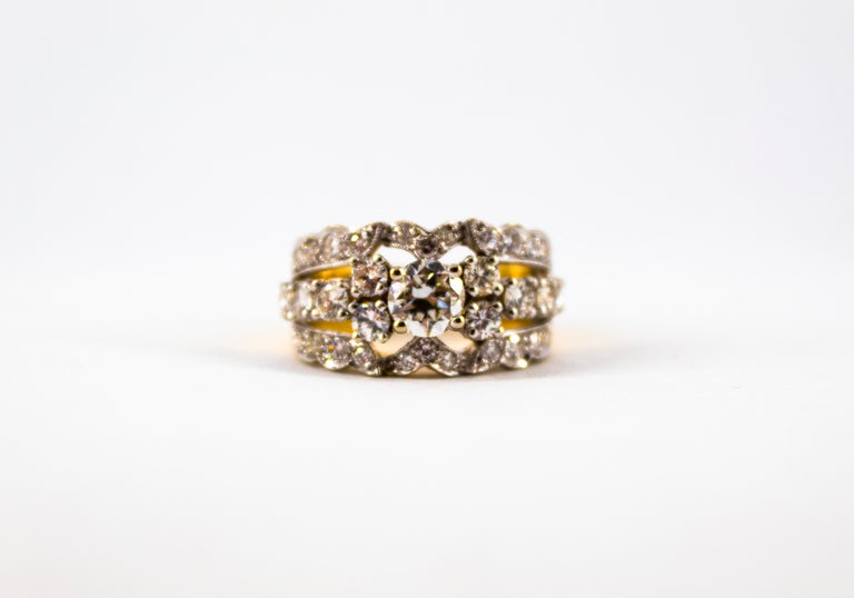 Renaissance Style 2.00 Carat White Diamond Yellow Gold Band Ring For Sale 6