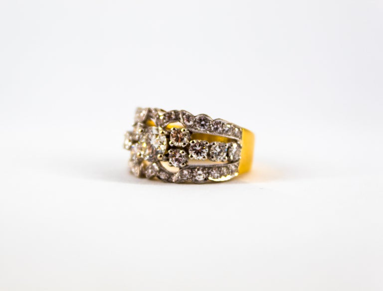Renaissance Style 2.00 Carat White Diamond Yellow Gold Band Ring For Sale 7