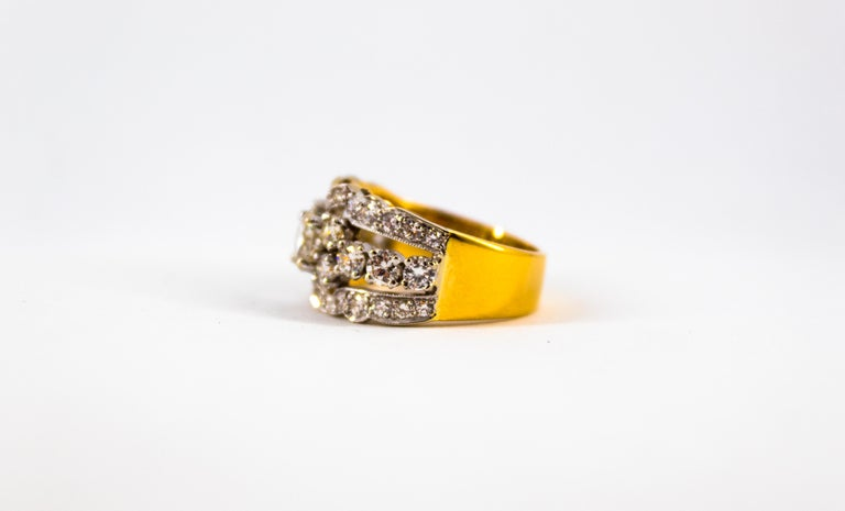 Renaissance Style 2.00 Carat White Diamond Yellow Gold Band Ring For Sale 8