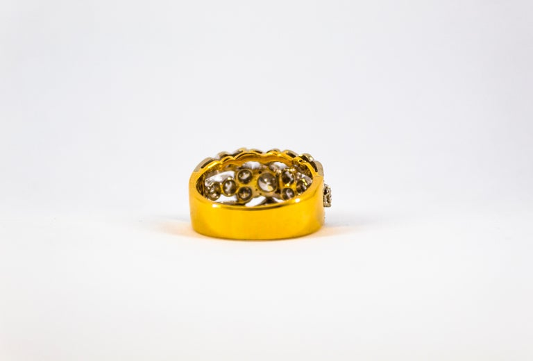 Renaissance Style 2.00 Carat White Diamond Yellow Gold Band Ring For Sale 10