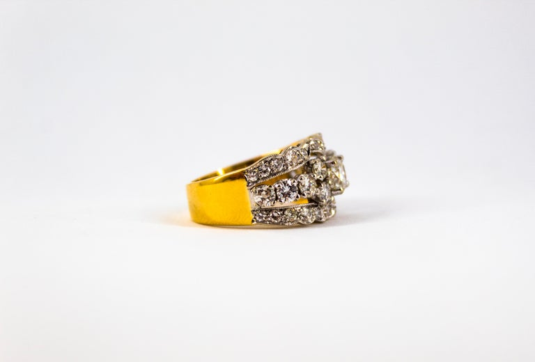 Renaissance Style 2.00 Carat White Diamond Yellow Gold Band Ring For Sale 11