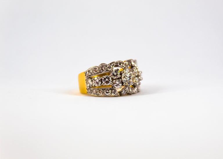Renaissance Style 2.00 Carat White Diamond Yellow Gold Band Ring For Sale 12