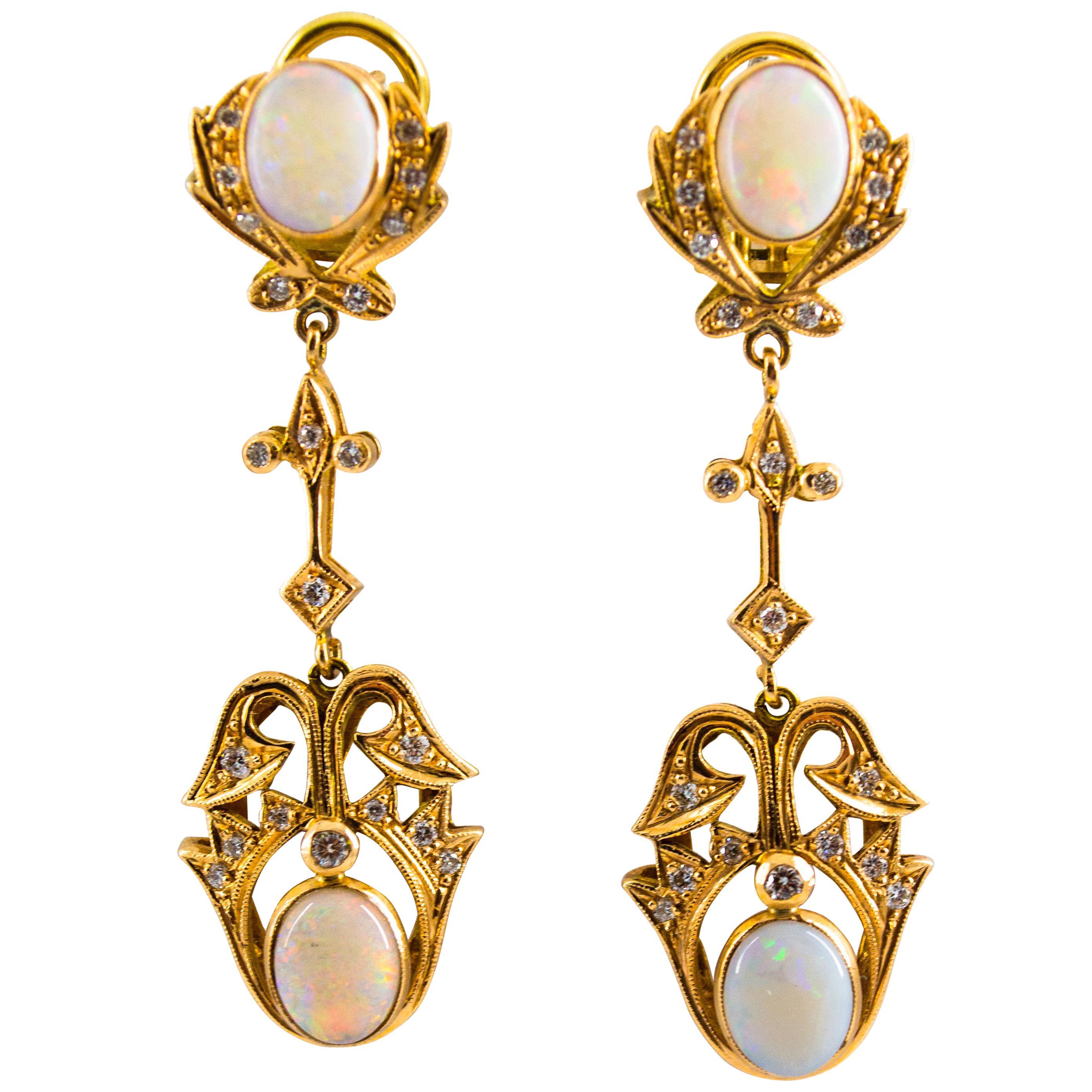 0.90 Carat White Diamond 3.90 Carat Opal Yellow Gold Clip-On Drop Earrings