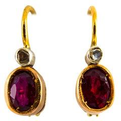 1.00 Carat Ruby 0.04 Carat White Diamond Yellow Gold Lever-Back Earrings