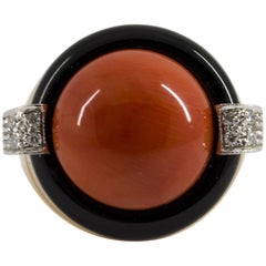 Mediterranean Red Coral Onyx 0.10 Carat White Diamond Yellow Gold Cocktail Ring