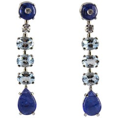 8.70 Carat Tanzanite 3.70 Carat Aquamarine Diamond White Gold Clip-On Earrings