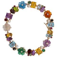 Art Nouveau Emerald Ruby Sapphire Pearl Diamond Yellow Gold Flowers Bracelet